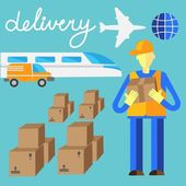 Delivery flat set of logistics packing and process delivery — Stock Vector