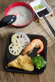 Chawanmushi traditional Japanese soup and tempura — Stock Photo