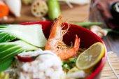 Seafood noodles closeup photo — Stock Photo
