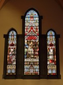 Stained glass window in Saint-Gery Church — Stock Photo