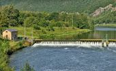 Landscape with a dam on Meuse river in Ardennes, France — Stock Photo