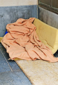 Sleeping place of a homeless — Stock Photo
