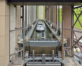 Strepy-Thieu boat lift on the Canal du Centre in municipality Le Roeulx, Walloon, Belgium — Stock Photo