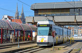 Kusttram or The Coast Tram at the Railway Station. Ostend, Belgium — Stock Photo