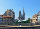 Center of the city with a museum boat and Saint Peter and Saint Paul church. Ostende. Belgium — Stock Photo