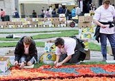 Volunteers continue their work on the Flower Carpet on Grand Place, Brussels — Stock Photo
