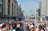 Belgian Police and trade-unions demonstrate against changes in pension regulations — Stock Photo