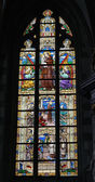 Stained glass window in Collegiate Church Saint-Martin — Stock Photo