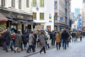 Tourists crowding center of Brussels. Belgium — Stock Photo