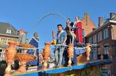 Chariot of prince and princess of the carnival during annual defile in Halle, Belgium — Stock Photo