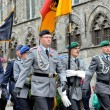 Poppy Parade commemorating 100 years of World War I march from Grand Place to Porte de Menin — Stock Photo #60026433