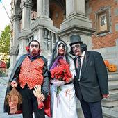 Halloween activities on Grand Place of Halle, Belgium — Stock Photo