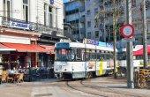 Tram stops on Leopold Square in Antwerp, Belgium — Stock Photo