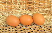 Three red chicken eggs — Foto de Stock