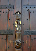 Medieval decoration on entry to church of Saint Pieter or Saint-Pierre in Lessines — Stock Photo