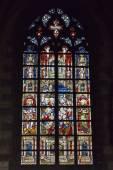 Cathedral window in Collegiate church Saint Waudru in Mons, Belgium — Stock Photo