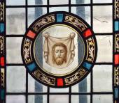 Cathedral window in Our Lady of Grace chapel in Mons, Belgium — Stock Photo