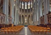 Interior of Collegiate church Saint Waudru in Mons, Belgium — Stock Photo