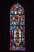 Baptizing of Clovis I, the first king of franks, image on stained glass window in church of Athis — Stock Photo