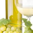 Cluster of white grapes with grapevine, glass of wine and bottle on white background — Stock Photo #52930339