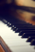 Piano keyboard background with selective focus — Stock Photo