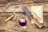 Mock up wine and cheese set. — Stock Photo