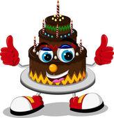 Birthday cake cartoon thumb up — Stock Vector