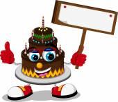 Cake cartoon holding blank sign — Stock Vector