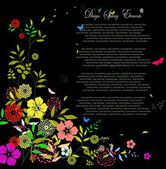Flower spring background with text for you design — Vector de stock