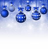Background with Blue Christmas balls and white snowflakes — Wektor stockowy