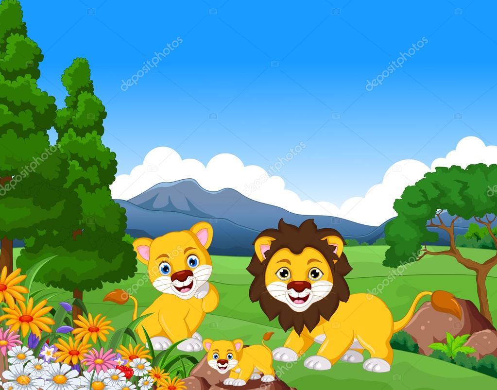 Leão engraçado dos desenhos animados família na selva — Vetor de ...