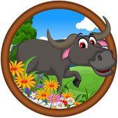 Cute buffalo cartoon posing for you design — Stock Vector