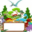Dinosaur cartoon with landscape background and blank sign — Stock Vector #67629373