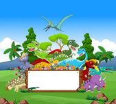 Dinosaur cartoon with landscape background and blank sign — Stock Vector