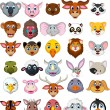Big animal head cartoon collection for you design — Vecteur #67718957