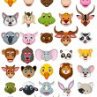Big animal head cartoon collection — Vecteur #67718991