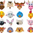 Farm animal head cartoon collection — Vecteur #67718995