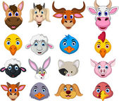 Farm animal head cartoon collection — Stockvektor