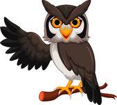 Cute owl cartoon waving — Stock Vector