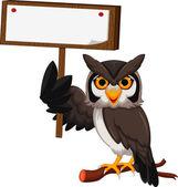 Owl cartoon holding blank board — Stock Vector