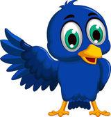 A blue bird cartoon character — Stock Vector