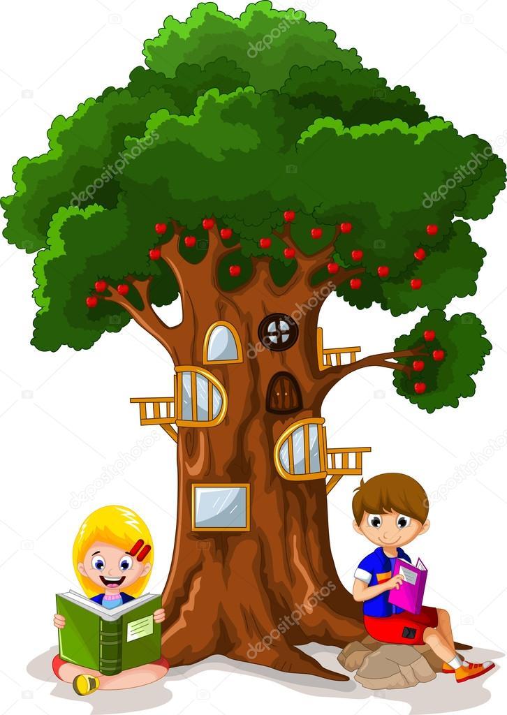 Niño leyendo el libro bajo el árbol — Archivo Imágenes ...