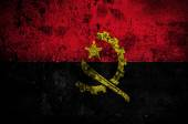 Grunge flag of Angola with capital in Luanda — Foto Stock