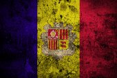 Grunge flag of Andorra with capital in Andorra la Vella — Foto Stock