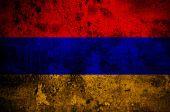 Grunge flag of Armenia with capital in Yerevan — Stock Photo