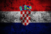 Grunge flag of Croatia with capital in Zagreb — Stock Photo