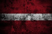 Grunge flag of Latvia with capital in Riga — Stock Photo