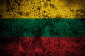 Grunge flag of Lithuania with capital in Vilnius — Stock Photo
