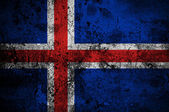 Grunge flag of Iceland with capital in Reykjavik — Stock Photo