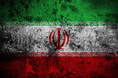 Grunge flag of Iran with capital in Tehran — Stock Photo